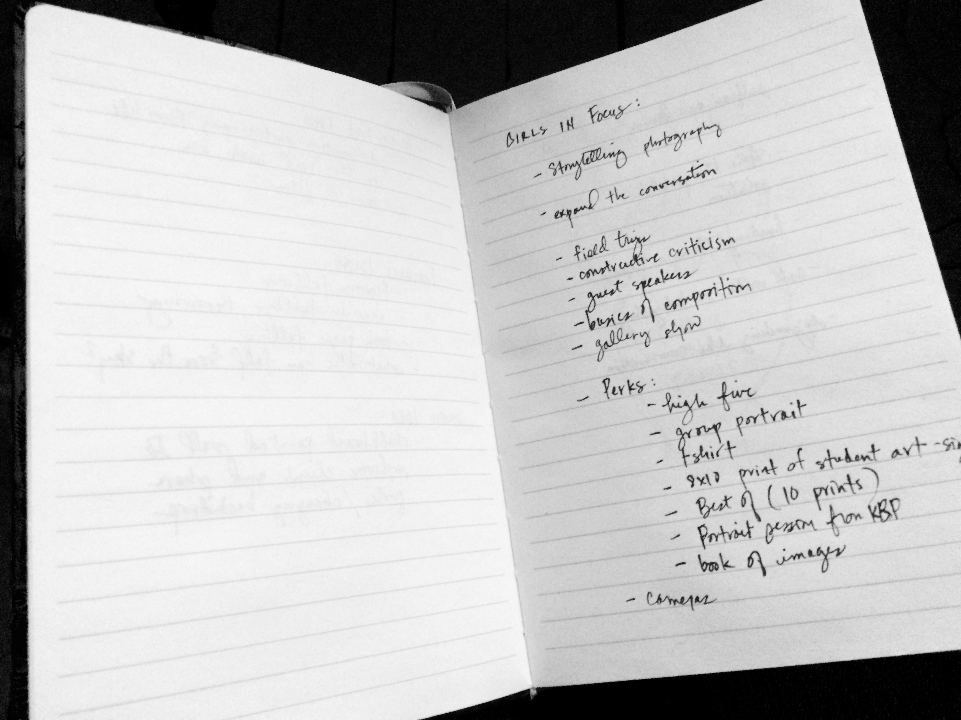 Where it all began: a few notes in a journal